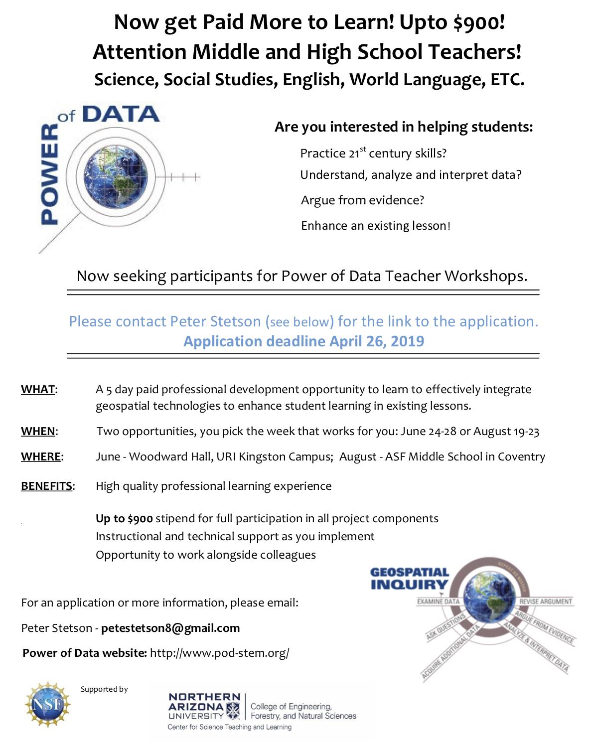Seeking participants for Power of Data Teacher Workshops